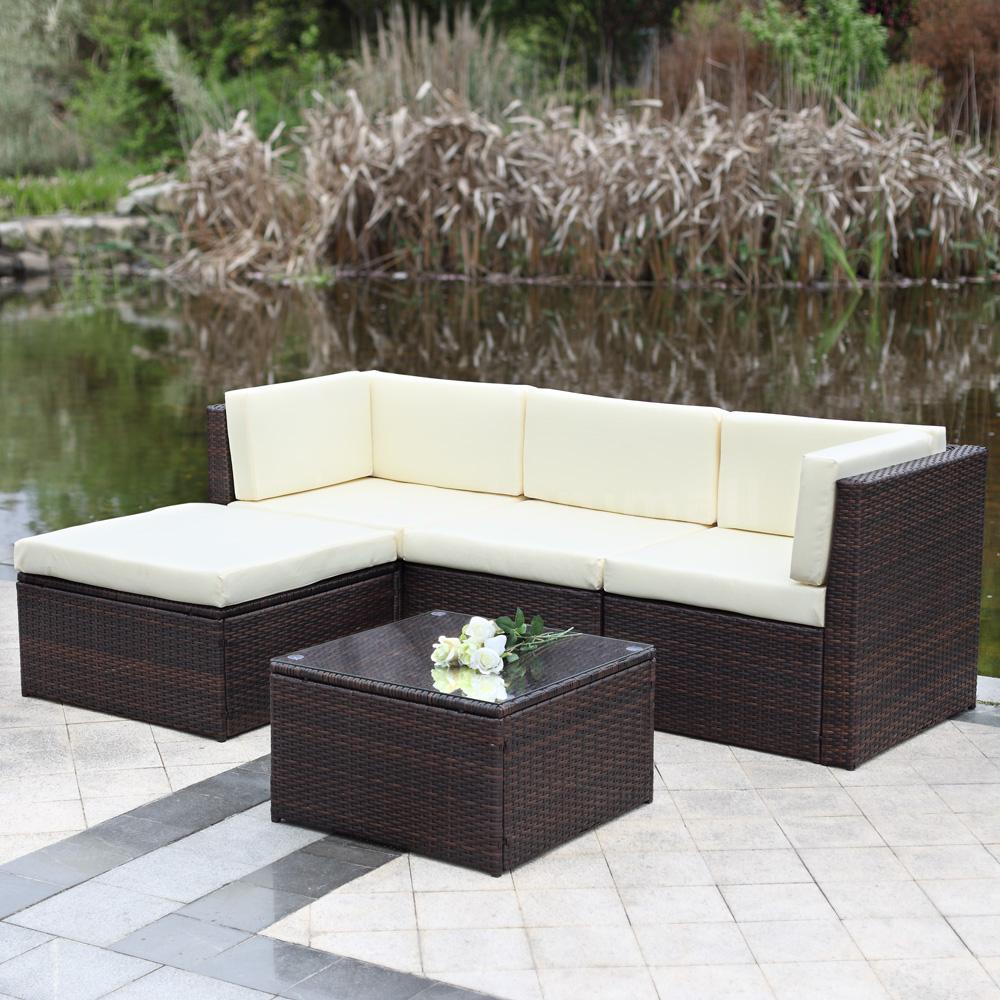 Rattan Furniture Corner Sofa Ebay: 5PC Wicker Rattan Patio Outdoor Garden Furniture Ottoman