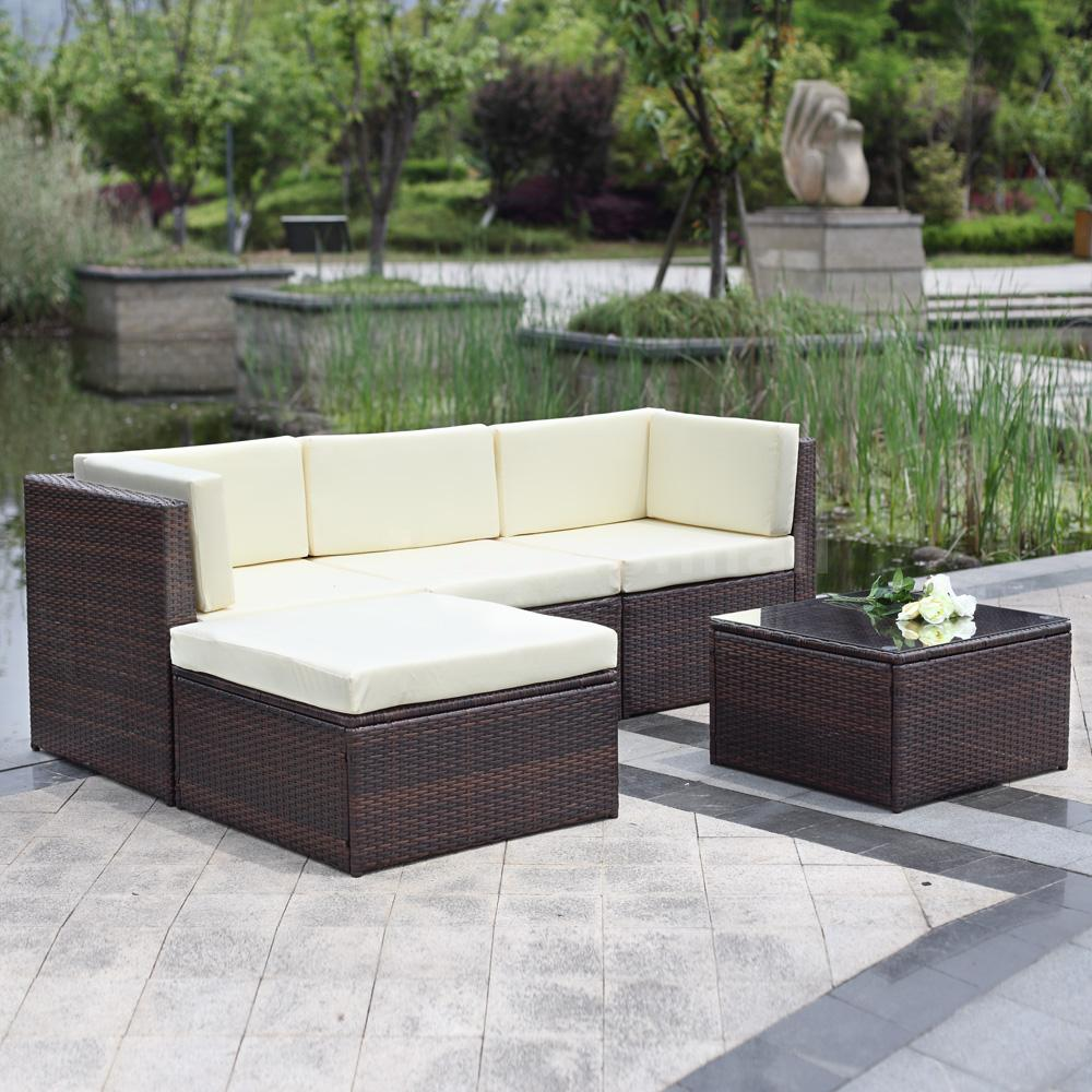 5pc wicker rattan patio outdoor garden furniture ottoman sectional sofa set b3d3 ebay. Black Bedroom Furniture Sets. Home Design Ideas