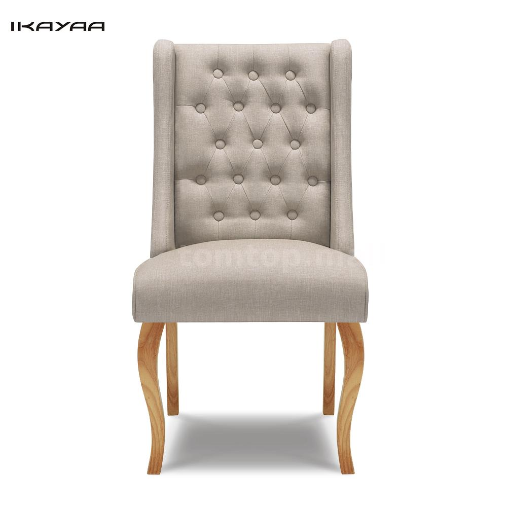 Linen Fabric Tufted Dining Chairs Solid Wood Accent Side